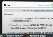 screenshot of meeting actions